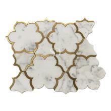 Soulscrafts Carrara Mixed Brass Flower Pattern Water Jet Marble Mosaic Tile