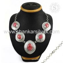Brillante rosa rhodochrosite joyas collares de plata 925 joyas de plata esterlina joyería de plata india