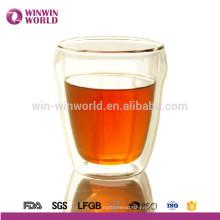 Fashion Design Custom Logo Printing Double Wall Glass Coffee Cup