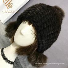 Chapeau de fourrure noire multicolore filles chapeau noir
