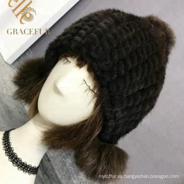 Sombrero de piel real negro chicas multi headwear