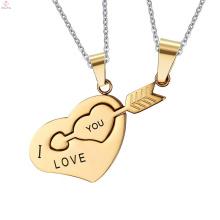 Alfabeto Amor Enigma De Aço Inoxidável Casal Colar De Pingente De Coração