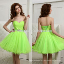 Beautiful 2014 Neon Green Sweetheart Layered Tulle Jupe Short A-Line Lace-up Homecoming Robe Robe Avec Sash En Ligne NB0858