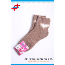 warm cute terry microfiber stripe cozy thick tube socks custom logo