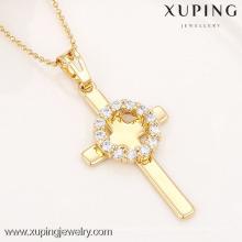 32336-Xuping Joyería de imitación moda religión cruz Colgante de oro 18 K chapado en oro