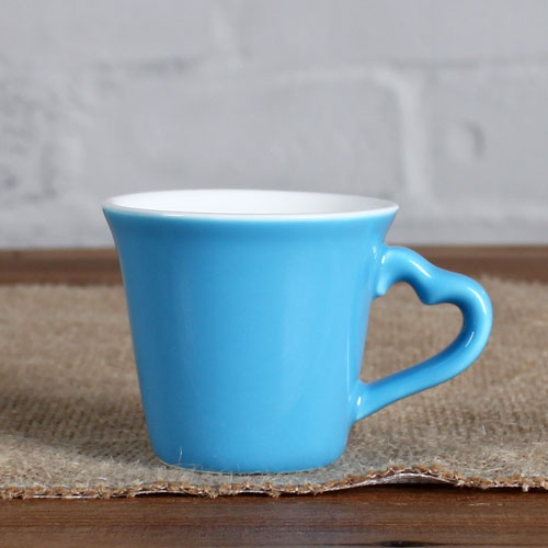 blue cup with love shape handle
