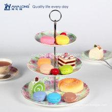 New Bone china colors printed Three layers round ceramic cake plate