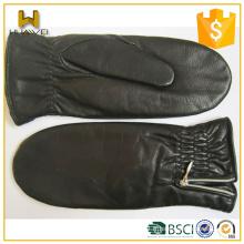 Gants en cuir noir doublé en fourrure en fourreau Mitaines en peau de mouton Femmes en cuir avec pli sur la manchette