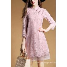 2016 Sweet Lady Kleid aus rosa Spitze mit langen Ärmeln