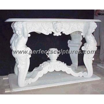 Antigua mesa de mármol de piedra para la decoración de jardín al aire libre (qtb007)