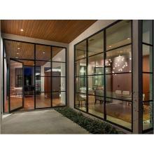 Puertas francesas de hierro de diseño moderno con vidrio templado