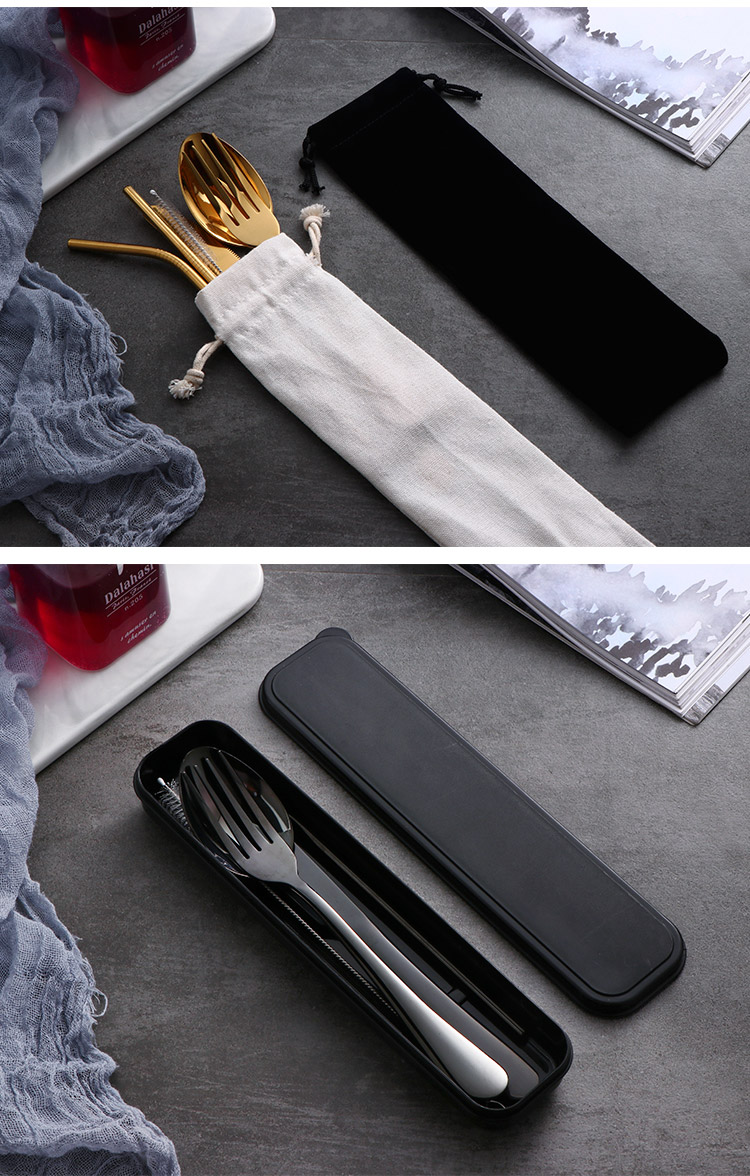 Stainless Steel Straw Spoon Fork Knife