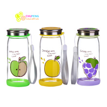 Hot sale high quality BPA free lovely glass fruit bottle office water cup