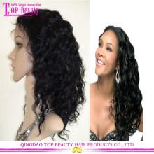 Чернокожих Женщин Естественный Цвет Необработанные Девственные Фронта Шнурка Человеческих Волос Парик Топпер