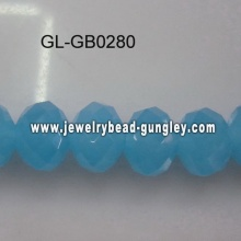 opaque roundel glass bead-lake blue