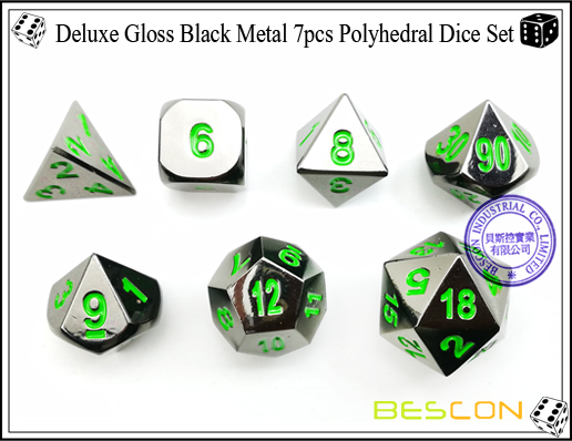 Deluxe Gloss Black Metal 7pcs Polyhedral Dice Set-3
