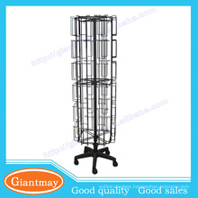 multi-pocket rotating metal wire greeting cards for floor display stands
