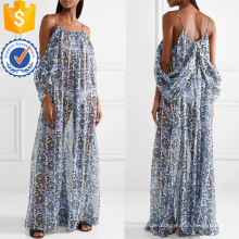 Cold-Shoulder Long Sleeve Printed Chiffon Sommer Maxikleid Herstellung Großhandel Mode Frauen Bekleidung (TA0319D)