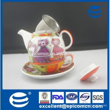 wholesale manufacturer cartoon pattern ceramic porcelain one person tea set in one