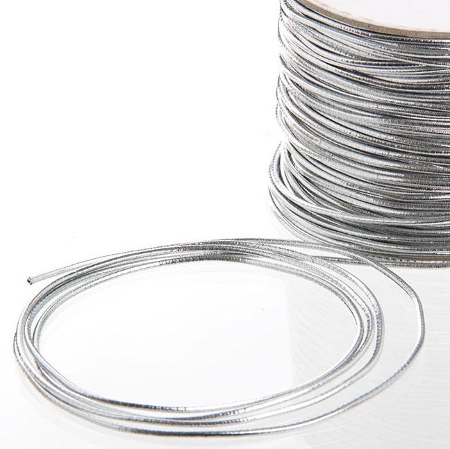 Silver metallic cord for packaging