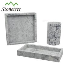 Quadratischer schwarzer Marmor-Serviertablett aus 100% Naturstein