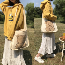 Canvas Shoulder Bag Embroidery Cute Bear Pattern