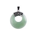 Moda mujer moneda verde aventurina colgante collar suéter cadena joyería