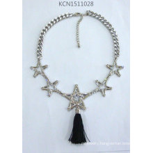 Metal Silver Plated Star Necklace with Fabric
