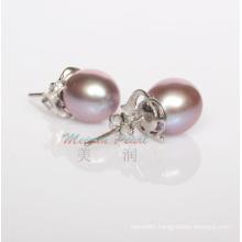 925 Sterling Silver 9-10mm Purple Freshwater Pearl Stud Earrings