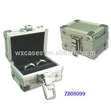 New arrival small metal jewelry box with ring rolls inside