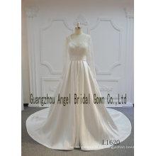 Vestido de novia de manga larga con encaje satinado A Line Elegan