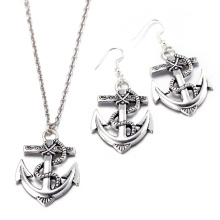 Hot Sale Fashion Boat Anchor Shape Zinc Alloy Jewelry Sets Necklace and Earrings