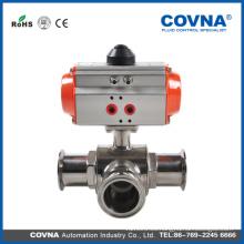 Válvula de bola de 3 vías de plástico o acero inoxidable accionada neumáticamente