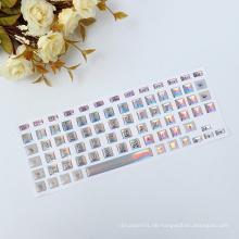 Geschwollene Vinyl englische Buchstaben druckbare Laptop-Tastatur Skins Aufkleber, dekorative Tastatur Aufkleber