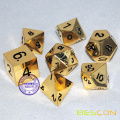 Deluxe Metal Golden Polyhedral Dice Set, Golden RPG Dice
