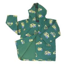 Yj-1109 à capuchon mignon vert PU Toddler Light Rain Jacket Rains Raincoat