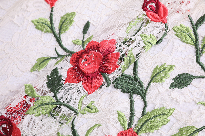 Rose Embroidery On Lace Mesh