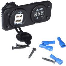 Vehicle Dual USB Charger+Car Digital Voltmeter Volt Meter Gauge 12-24V Universal