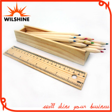 7′ Wooden Color Pencil with Ruler Lid for Gift (MP013)