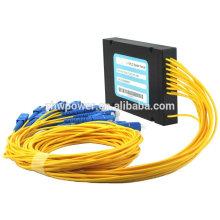 Bom preço Tipo de cassete Embalado SC / UPC fibra óptica PLC splitter com conector SC 1 * 12