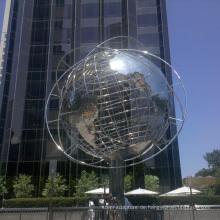 Outdoor-Gartendekorationen Edelstahl Kugel Globus Skulptur