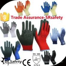 SRSAFETY 10 Gauge 100% полиэфирные перчатки Liner Coated Blue Latex On Palm, латексные перчатки