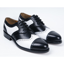 White and Black Genuine Leather Mens Business Shoes (NX 419)