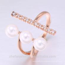 anillo de perlas de agua dulce de la joyería de la perla del anillo de la perla del descuento con el chapado en rodio