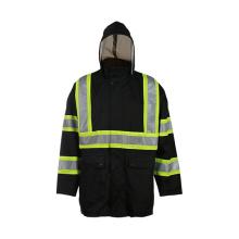 Veste réfléchissante de sécurité noire avec chapeau