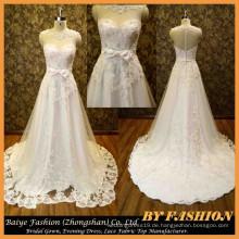 2015 Elegantes Kristall Hochzeitskleid Spitze Gewebe Kleid Schatz Brautkleid BYB-14615