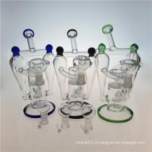 Double Recycler Hookah Glass Smoking Pipe avec Honeycomb Perc (ES-GB-392)
