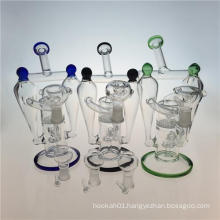 Double Recycler Hookah Glass Smoking Pipe with Honeycomb Perc (ES-GB-392)