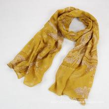 Fashion Autumn Long Polyester Voile Women Yellow Scarf