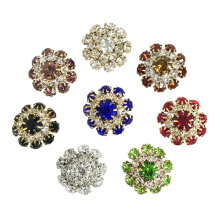 Fashion Decorative Colorful Rhinestone Metal Shank Buttons For Clothes